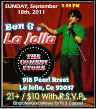 Ben G at La Jolla Comedy Store Sep 18 2011