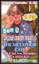 Ben G at The Metaphor Cafe 9.10.11