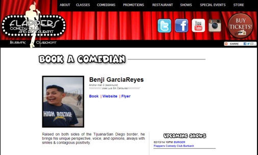 Ben G Flapper comedians page screen shot