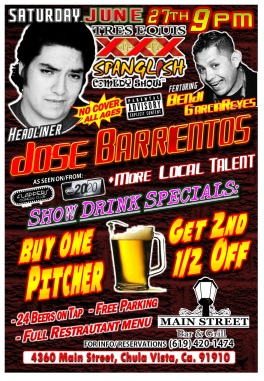 MAIN STREET BAR and GRILL Tres Equis Show 06.27.15 Barrientos 2.0