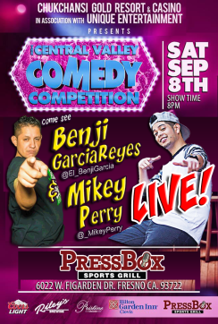 Sat Sep 8th Contest Flyer - Benji and Mikey